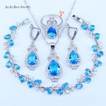 5 Colors 925 <b>Silver</b> Jewelry Fashion Light Blue CZ Crystal Necklace Earring <b>Bracelets</b> And Ring Set For Women Water Drop Jewelry