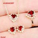 KJJEAXCMY boutique jewels 925 <b>silver</b> inlaid with natural garnet lady pendant <b>earrings</b> ring 3 pieces of simple gift necklace.