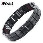 iWrist Magnetic Titanium Bracelet For Men Black 4in1 -ve Ions Germanium Bracelets Far Infra Red <b>Fashion</b> Bangle Health <b>jewelry</b>
