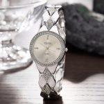 A226 CUSSI Womens Watches <b>Silver</b> Luxury Rhinestone Ladies <b>Bracelet</b> Watches Fashion Dress Quartz Wristwatch reloj mujer Gifts