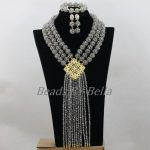 <b>Handmade</b> Balls Necklace Set Gray Grey Crystal Beads Necklace Set Nigerian Wedding African Beads <b>Jewelry</b> Set Free Shipping ABF759