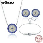 WOSTU New Arrival Authentic 925 Sterling <b>Silver</b> Vintage Samsara Jewelry Sets <b>Bracelet</b> Earrings Necklace For Women Fashion Gift