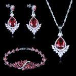 Russian Luxury Bridal Jewelry For Women Rose Red Zircon 925 Stamp Color <b>Silver</b> Jewelry Sets For Women <b>Bracelets</b> Pendant Earrings