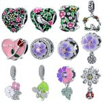 fit Pandora Bracelet Spring Blossom Charm 925 Sterling Silver Flower Tree Birds Pink Enamel Rose Beads for S925 <b>Jewelry</b> <b>Making</b>