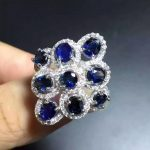 Natural blue sapphire gem Ring Natural gemstone ring 925 <b>sterling</b> <b>silver</b> trendy Luxury round circle women girl gift <b>Jewelry</b>