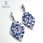 TBJ,New 2018 natural tanzanite gemstone Clasp Dangle <b>Earrings</b> Pure 925 <b>Sterling</b> <b>Silver</b> Fine Jewelry For Women Girl party wear