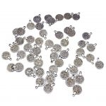 100 Pieces Wholesale Bulk Gypsy Bohemian Carving Flower Coin Charms for <b>Jewelry</b> <b>Making</b> Pendant Tassel