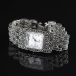 New Limited Edition Classic Elegant S925 <b>Silver</b> Pure Thai <b>Silver</b> <b>Bracelet</b> Watches Thailand Square Rhinestone Bangle Dresswatch