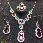 KJJEAXCMY boutique jewels 925 Pure <b>silver</b> inlaid with natural pomegranate stone ring necklace <b>earrings</b> 3 pieces of gold color.