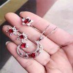 2016 classic explosion fashion Mozambique Garnet Ring Pendant <b>Earrings</b> set of three sets