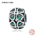 925 Sterling Silver Green Heart CZ Four Leaf lover Lucky charms Beads Fit Authentic pandora bracelets <b>Antique</b> <b>Jewelry</b> for Gifts
