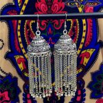 India Pakistan Woman Ancient Silver Bird Cage Earrings Jaipur <b>Handmade</b> Tribal <b>Jewelry</b> Thailand Nepal Middle East Tassel Earrings