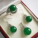 Prett Women's Wedding silver plated 12mm gem stone pendant, earring adn ring <b>jewelry</b> sets