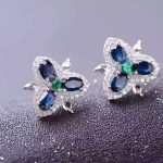 natural sapphire stone <b>earrings</b> 925 <b>silver</b> Natural gemstone <b>earring</b> for women personality Clover <b>Earrings</b> for party