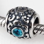 <b>Antique</b> telephone charm 925 sterling silver vintage beads <b>jewelry</b> with blue cubic zirconia Fits for Pandora Bracelets