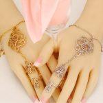 Bracelet link finger Turkish <b>Jewelry</b> For Women Fashion Gold And White Crystal <b>Wedding</b> <b>Jewelry</b> 2017 New