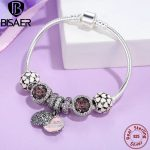 Genuine 925 <b>Sterling</b> <b>Silver</b> Snake Charm Bracelet & Bangle With Love Mother Charm Beads Gift Mom <b>Sterling</b> <b>Silver</b> <b>Jewelry</b> GYB006