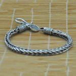Vintage Real Pure 925 Sterling Silver <b>Handmade</b> Braided Chain Bracelet For Men <b>Jewelry</b> Mens Bracelets 2017