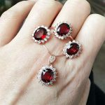Garnet suit natural rose gold S925 Sterling <b>Silver</b> Pendant Necklace Ring <b>Earring</b> Set