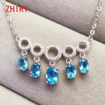 Natural Topaz Gemstone Necklace Real 925 <b>Sterling</b> <b>Silver</b> Pendant Women <b>Jewelry</b>