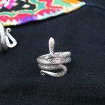 Guizhou Yunnan ethnic <b>handmade</b> original Miao silver <b>jewelry</b> ring men and women personality snake ring