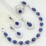 Fire Blue Zircon White Crystal Bridal 925 Sterling <b>Silver</b> Jewelry Sets For Women Wedding Earring/Pendant/Necklace/<b>Bracelet</b>/Ring