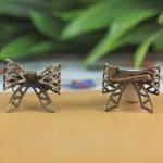 50pcs/Lot 20mm bowknot Brooches <b>Antique</b> Bronze vintage cabochon pin base blank settings diy handmade <b>jewelry</b>