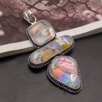50% OFF Natural Dichroic Glass Magic 925 Sterling <b>Silver</b> <b>Necklace</b> Pendant Charms 3 1/4 Inch HP63 Free Shipping