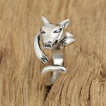 Factory wholesale sterling silver <b>jewelry</b> <b>handmade</b> Vintage Silver S925 Mens personality ring opening ring wolf tail ring