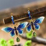 925 silver <b>jewelry</b> inlaid earrings Sukhothai Shaolan Butterfly Earrings Blue Lady Cloisonne