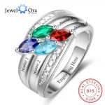 Personalized Gift for Mom Engrave 4 Names Childrens Birthstone Promise Rings 925 Sterling Silver <b>Jewelry</b> (JewelOra RI103282)