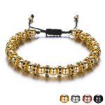 Luxury Full Crystal Wheel Circle Rivet Handmade Beads Men's Bracelet Hand Chain <b>Jewelry</b> Adjustable Male Bracelets <b>Accessory</b>