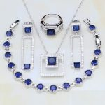 Square Blue Cubic Zirconia White CZ 925 Sterling Silver Costume <b>Jewelry</b> Sets For Women Earrings/Pendant/<b>Necklace</b>/Rings/Bracelets