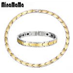 New Fashion Gold <b>Silver</b> Rose Gold Color Stainless Steel Germanium Energy Necklace <b>Bracelet</b> Set Exquisite Unisex Gift Jewelry