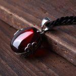 FNJ 925 <b>Silver</b> Round Pendant S925 Solid Thai <b>Silver</b> Synthetic Garnet Red Corundum Pendants for Women <b>Jewelry</b> Making