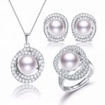 SNH 10-11mm button AAA 925silver Freshwater Real Natural Pearl Jewelry Sets, Pendants & Rings & <b>Earrings</b> For Women