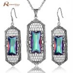 Fashion Jewelry Solid 925 Sterling <b>Silver</b> Set Luxury Mystic Rainbow Austria Crystal Vintage Pendant <b>Earring</b> Jewelry Sets