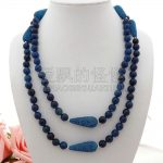 N052502 49″ Faceted Blue CZ Micro Teardrop Beads Necklace