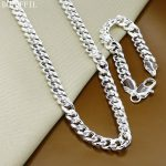 10mm Men Chain Necklace <b>Bracelet</b> 925 <b>Silver</b> Necklace <b>Bracelet</b> Set Jewelry Gift 130g
