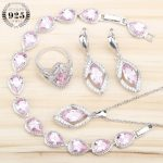 Pink Zircon Women 925 Sterling <b>Silver</b> Jewelry Sets Earrings With Stones <b>Bracelets</b> Pendant&Necklace Rings Set Jewellery Gift Box