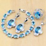 <b>Silver</b> 925 Jewelry Blue Cubic Zirconia White CZ Jewelry Set For Women Earrings/Pendant/Necklace/Rings/<b>Bracelet</b>