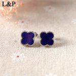 Lapis Lazuli Handmade Sterling <b>Silver</b> Jewelry Thai <b>Silver</b> Women Vintage Stud <b>Earrings</b> Four Leaf Clover Sterling <b>Silver</b> Jewels