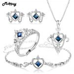 MoBuy Natural Gemstone 4pcs Heart Jewelry Sets 100% 925 Sterling <b>Silver</b> Classic Sapphire Fine Jewelry For Women Party V019EHNR