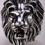 Lion ring for men kids stainless steel 316L biker punk rock party <b>jewelry</b> big animal charm <b>antique</b> silver tone SR03 fashion 2015