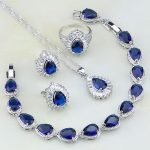 Classic 925 <b>Silver</b> Blue CZ Jewelry White Cubic Zirconia Jewelry Sets For Women Wedding Earring/Pendant/Necklace/<b>Bracelet</b>/Ring