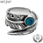 MetJakt Natural Vintage Turquoise Feather Rings Solid 925 Sterling Silver Open Rings for Lovers' <b>Jewelry</b> <b>Handmade</b> Ring