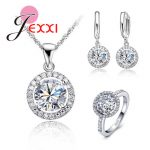 Top Quality Exquisite Women Wedding Necklace Earring Ring <b>Jewelry</b> Set 925 Sterling Silver Color Swiss Zircon Crystal