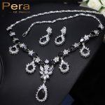 Pera CZ Women Evening Party Jewelry Set Black Crystal Stone Long Pear Dangle Drop <b>Necklace</b> And Earrings With <b>Silver</b> Color J065