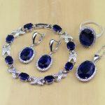 Blue Cubic Zirconia Jewelry White CZ 925 Sterling <b>Silver</b> Jewelry Sets For Women Earrings/Pendant/Necklace/Rings/<b>Bracelet</b>