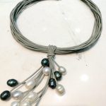 Women <b>Jewelry</b> Multilayer necklace 9mm white gray black pearl pendant oval pearl <b>handmade</b> gray Leather rope cultivate pearl